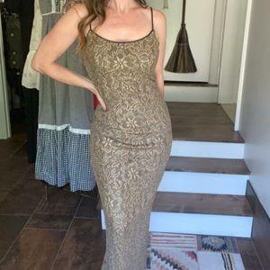 Vintage 90s gold lace slip dress